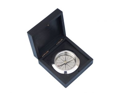 Chrome Captain\'s Desk Compass w/ Black Rosewood Box 4\