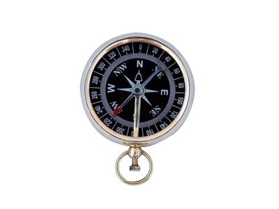Solid Brass Beveled Black Faced Compass 3