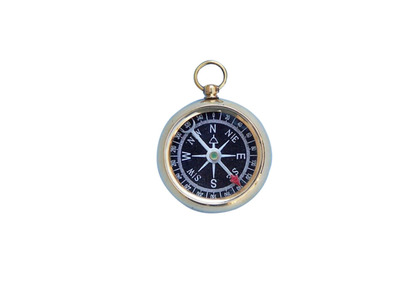 Solid Brass Beveled Black Faced Compass 2""