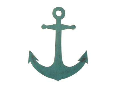 Rustic Coastal Blue Wooden Anchor 30