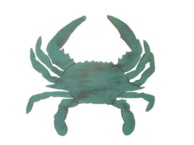 Rustic Coastal Blue Wooden Crab 32
