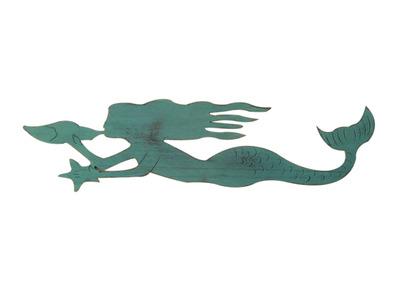 Rustic Coastal Blue Wooden Mermaid 44
