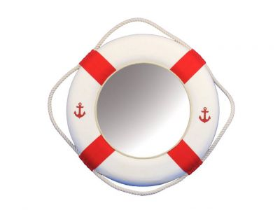 Classic White Decorative Anchor Lifering Mirror With Red Bands 15\