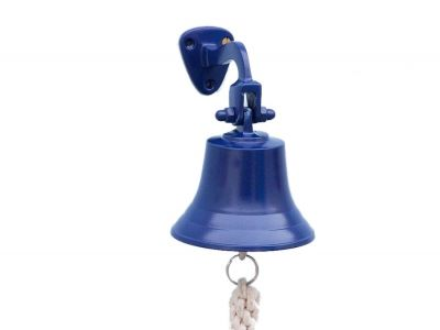 Solid Brass Hanging Ships Bell 6 - Blue Power Coated