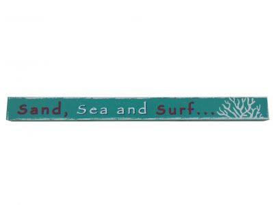 Wooden Sand, Sea and Surf Beach Sign 18