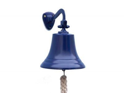 Solid Brass Hanging Ships Bell 9 - Blue Power Coated