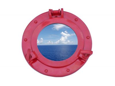 Brass Deluxe Class Porthole Window 8 - Dark Red