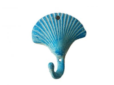 Light Blue Cast Iron Shell Key Hook 5