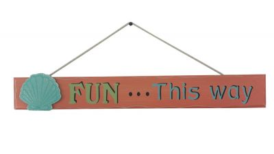 Wooden Fun This Way Sign 24