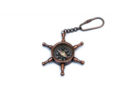 Antique Copper Ship Wheel Compass Key Chain 5