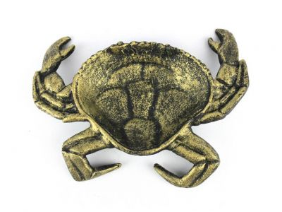 Antique Gold Cast Iron Crab Decorative Bowl 7\
