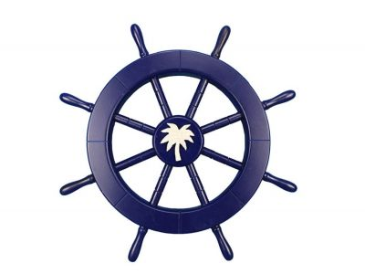Dark Blue Ship Wheel with Palm Tree 18