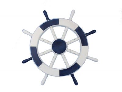 Dark Blue and White Ship Wheel 18