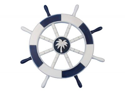 Dark Blue and White Decorative Ship Wheel with Palm Tree 18""