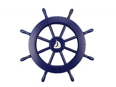 Dark Blue Ship Wheel with Sailboat 18
