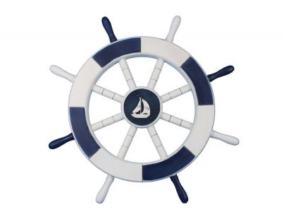 Dark Blue and White Ship Wheel with Sailboat 18