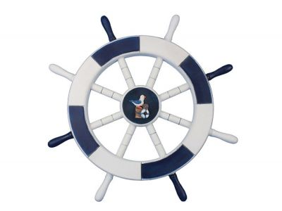 Dark Blue and White Ship Wheel with Seagull and Lifering 18