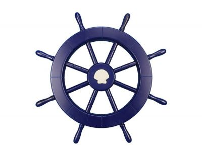 Dark Blue Ship Wheel with Seashell 18
