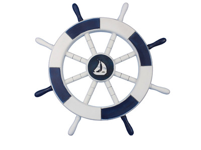 Dark Blue and White Ship Wheel with Sea Shell 18