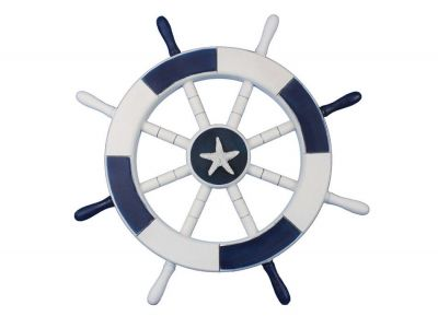 Dark Blue and White Ship Wheel with Starfish 18
