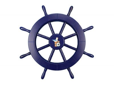 Dark Blue Ship Wheel with Seagull and Lifering 18