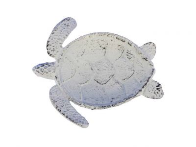 Whitewashed Cast Iron Sea Turtle Decorative Bowl 7\