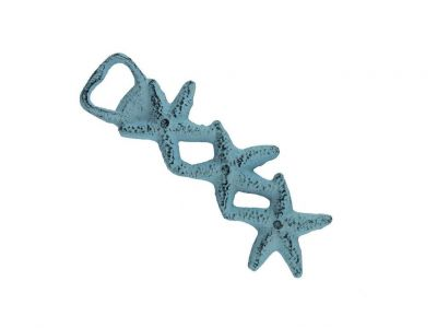 Dark Blue Whitewashed Cast Iron Triple Starfish Bottle Opener 7""