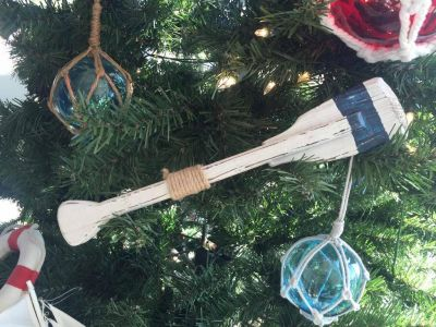 Wooden Rustic King Harbor Decorative Squared Rowing Boat Oar Christmas Ornament 12\