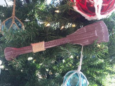 Wooden Rustic Hampshire Decorative Squared Boat Oar Christmas Ornament 12""