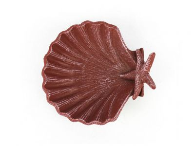 Red Whitewashed Cast Iron Shell With Starfish Decorative Bowl 6""