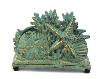 Antique Bronze Cast Iron Seashell Napkin Holder 7""