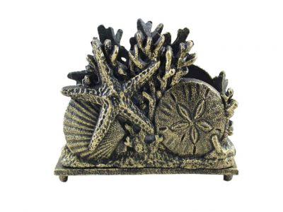 Antique Gold Cast Iron Seashell Napkin Holder 7""