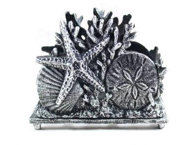 Antique Silver Cast Iron Seashell Napkin Holder 7\