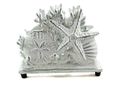 Rustic Whitewashed Cast Iron Seashell Napkin Holder 7""