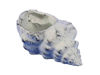 "Whitewashed Cast Iron Conch Decorative Tealight Holder 5.5"""