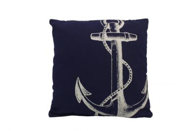 Blue and White Anchor Decorative Throw Pillow 14\