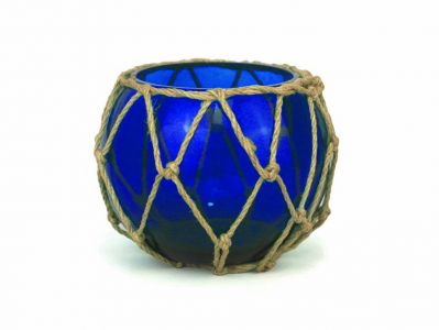 Dark Blue Japanese Glass Fishing Bowl with Decorative Brown Fish Netting 6\