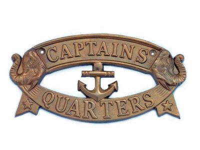 Antique Brass Captain\'s Quarters Sign 9\