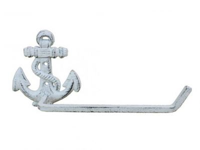 Whitewashed Cast Iron Anchor Toilet Paper Holder 10\