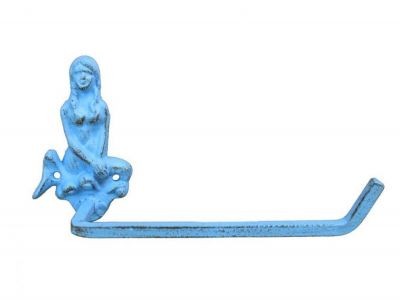 Dark Blue Whitewashed Cast Iron Mermaid Toilet Paper Holder 10""