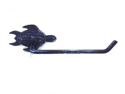 Rustic Dark Blue Cast Iron Sea Turtle Toilet Paper Holder 10""