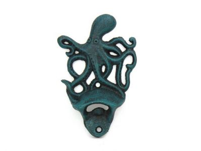 Seaworn Blue Cast Iron Wall Mounted Octopus Bottle Opener 6\