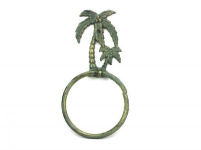 Antique Bronze Cast Iron Palm Tree Towel Holder 9\