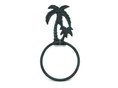 Seaworn Blue Cast Iron Palm Tree Towel Holder 9\