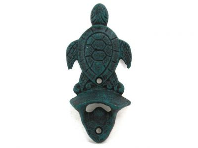 Seaworn Blue Cast Iron Wall Mounted Sea Turtle Bottle Opener 6\