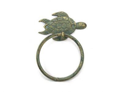 Antique Bronze Cast Iron Sea Turtle Towel Holder 7\