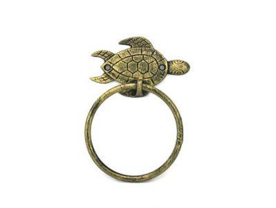 "Antique Gold Cast Iron Sea Turtle Towel Holder 7"""