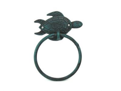 Seaworn Blue Cast Iron Sea Turtle Towel Holder 7""