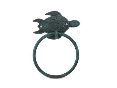 Seaworn Blue Cast Iron Sea Turtle Towel Holder 7\