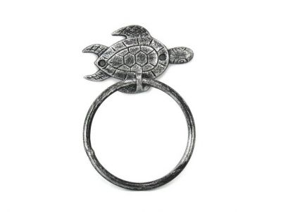 Antique Silver Cast Iron Sea Turtle Towel Holder 7\